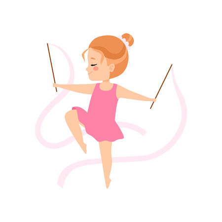 Cute Flexible Little Ballerina Doing Exercise with Ribbons, Girl Gymnast Character Training Vector Illustration on White Background.