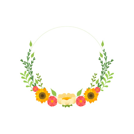 Floral Wreath Circle Frame with Blooming Flowers, Design Element For Greeting Card, Invitation Vector Illustration on White Background. Illustration