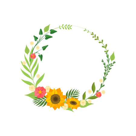 Floral Wreath with Blooming Flowers and Leaves, Circle Frame with Place for Text, Design Element For Greeting Card, Invitation Vector Illustration on White Background.
