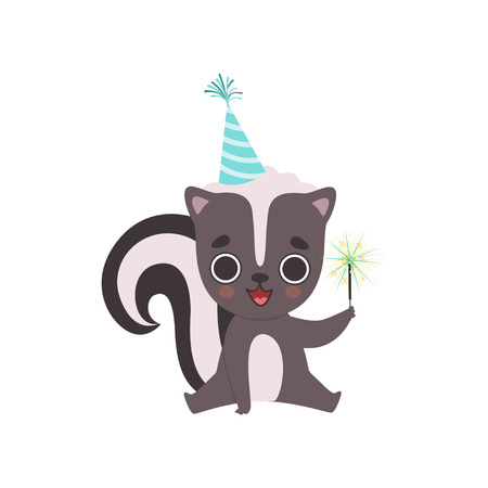 Cute Little Skunk Wearing Party Hat with Magic Wand, Adorable Baby Animal Cartoon Character Vector Illustration on White Background.