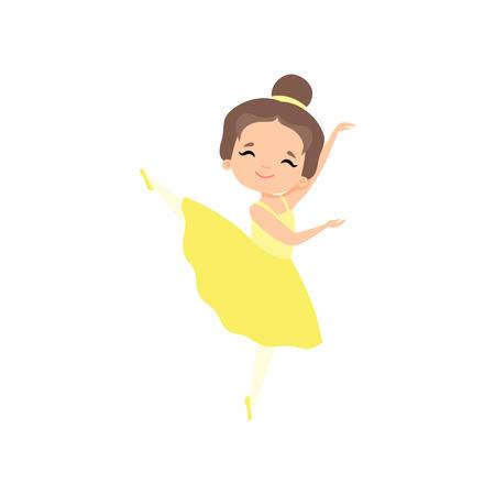 Cute Little Ballerina Dancing, Brunette Girl Ballet Dancer Character in Yellow Tutu Dress Vector Illustration on White Background.