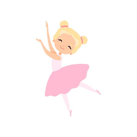 Cute Little Ballerina Dancing, Girl Ballet Dancer Character in Pink Tutu Dress Vector Illustration on White Background. Çizim