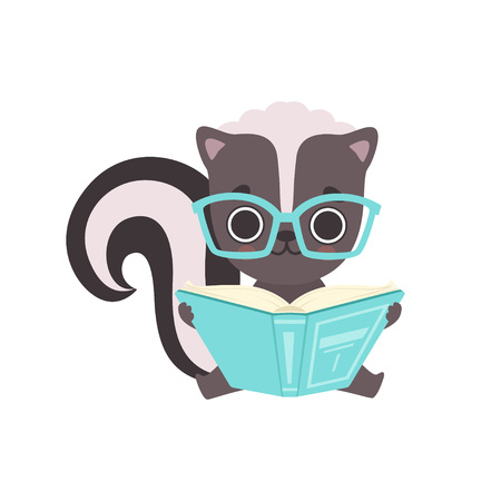 Cute Little Skunk in Glasses Reading Book, Adorable Baby Animal Cartoon Character Vector Illustration on White Background. Ilustração