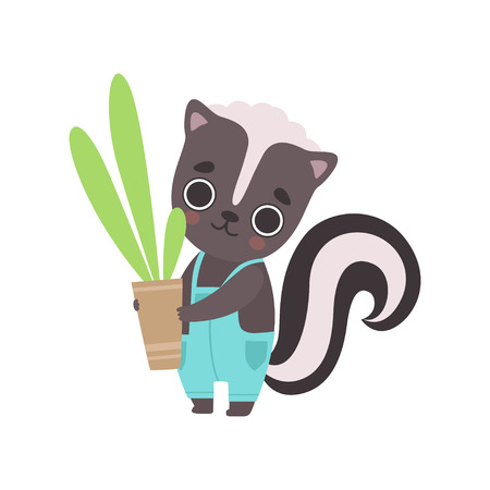 Mignonne petite mouffette portant l'ensemble tenant un pot de fleur avec une plante d'intérieur, adorable bébé animal personnage de dessin animé illustration vectorielle sur fond blanc.