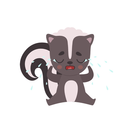 Cute Unhappy Little Skunk Crying with Tears, Adorable Baby Animal Cartoon Character Vector Illustration on White Background.