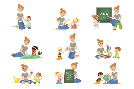 Cute little boys and girls playing and studying set, children study the alphabet, geography, biology, mathematics in kindergarten, pre primary school education concept vector Illustrations isolated on a white background. Illustration