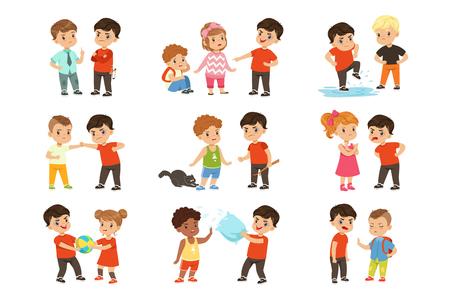 Odważne dzieci postacie konfrontacji chuliganów zestaw, bad boy zastraszanie mniejsze dziecko ilustracje wektorowe na białym tle.