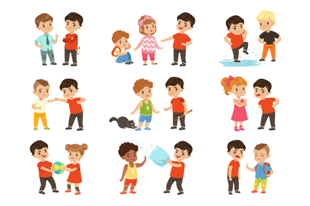 Brave children characters confronting hooligans set, bad boy bullying a smaller kid vector Illustrations isolated on a white background.