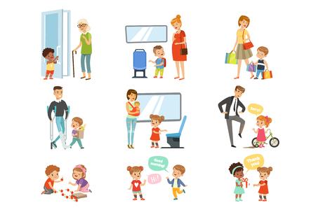 아이 좋은 매너 세트, 성인을 돕는 정중 한 어린이, 운송 방법, 흰색 배경에 고립 된 서로 감사 벡터 일러스트.