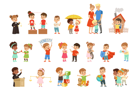 Cute little children protecting their family, friends, animals and the planet set vector Illustrations isolated on a white background.