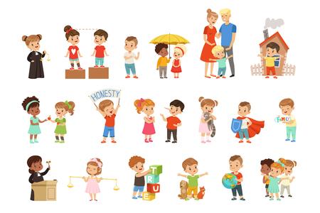 Nette kleine Kinder, die ihre Familie, Freunde, Tiere und den Planeten schützen, setzen Vektorillustrationen lokalisiert auf einem weißen Hintergrund. Vektorgrafik