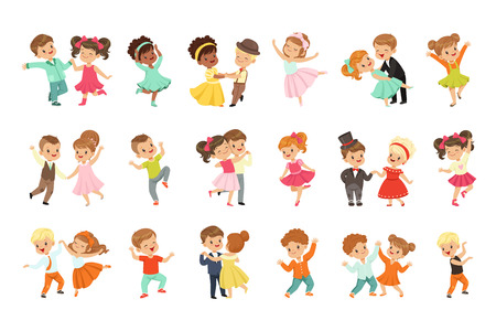 Couple of little kids dancing set, modern and classical dance performed by children vector Illustrations isolated on a white background. Vettoriali