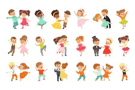 Paar kleine kinderen dansen set, moderne en klassieke dans uitgevoerd door kinderen vector illustraties geïsoleerd op een witte achtergrond.