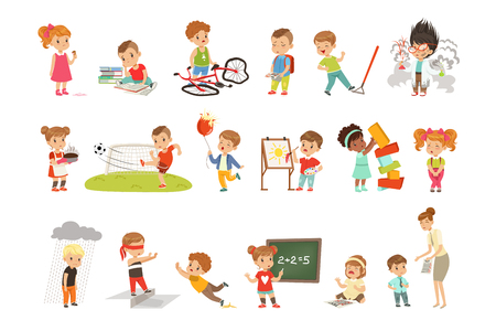 Childrens failures and mistakes set, frustrated kids experiencing their failures vector Illustrations isolated on a white background.
