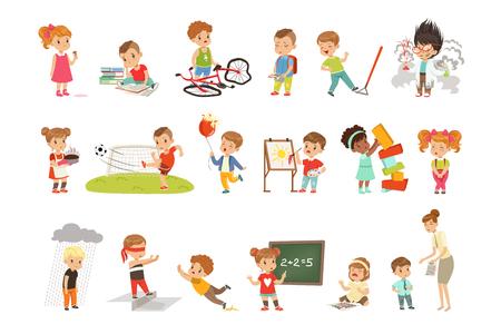 Zestaw niepowodzeń i błędów dla dzieci, sfrustrowane dzieci doświadczające ich niepowodzeń ilustracje wektorowe na białym tle.