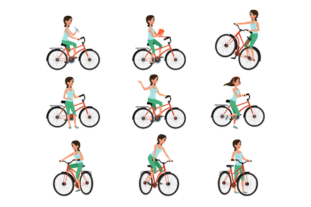 Girl riding on bike set, active lifestyle concept vector Illustrations isolated on a white background. Reklamní fotografie - 123291334