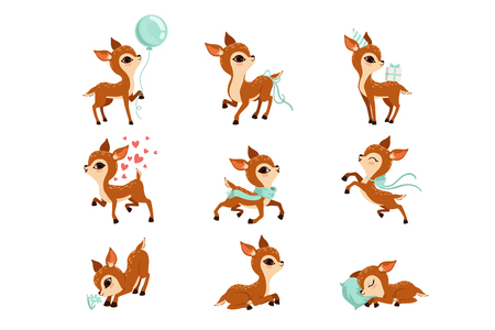 Set of cute fawn in different actions sleeping, walking, lying, sniffing flower. Cartoon character of little deer. Adorable forest animal. Graphic design for postcard or print. Flat vector icons.