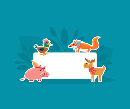 Cute Animals Holding Empty Banner, Pig, Duck, Fox and Deer Stickers with White Blank Signboard Vector Illustration, Web Design Banque d'images - 121080687