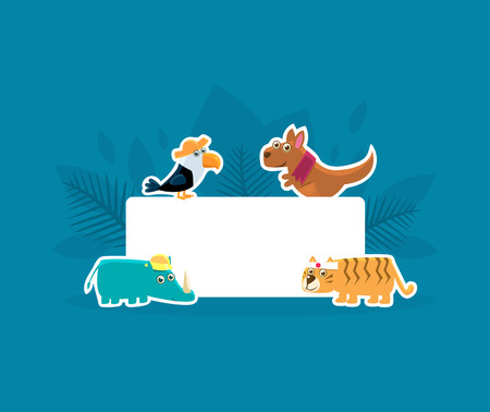 Cute Animals Holding Empty Banner, Toucan, Kangaroo, Rhino, Tiger Stickers with White Blank Signboard Vector Illustration, Web Design