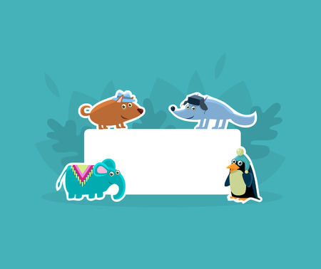 Cute Animals Holding Empty Banner, Wolf, Elephant, Penguin Stickers with White Blank Signboard Vector Illustration, Web Design Illustration