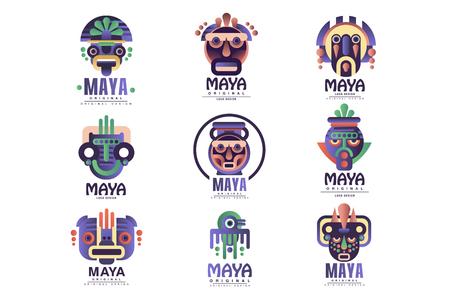 Conjunto de diseño original del logotipo maya, emblemas con máscara étnica, signos aztecas vector ilustraciones sobre un fondo blanco Logos