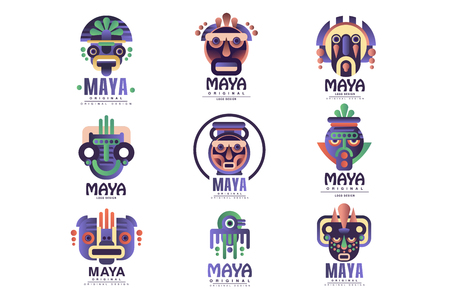 Maya logo original design set, emblems with ethnic mask, Aztec signs vector Illustrations on a white background  イラスト・ベクター素材