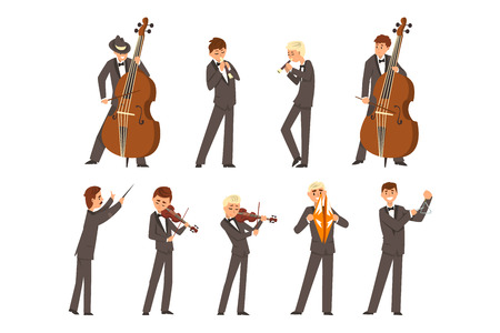 Musicisti di orchestra sinfonica e direttore d'orchestra, persone che suonano vari strumenti musicali illustrazione vettoriale su sfondo bianco
