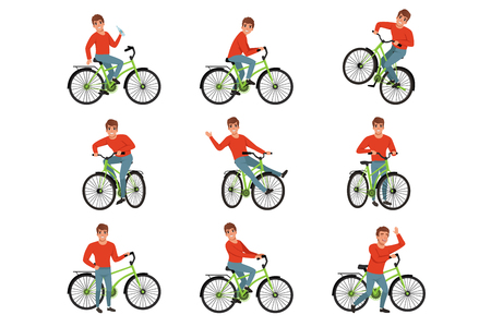 Male bicyclist riding on bike set, active lifestyle concept vector Illustrations isolated on a white background.