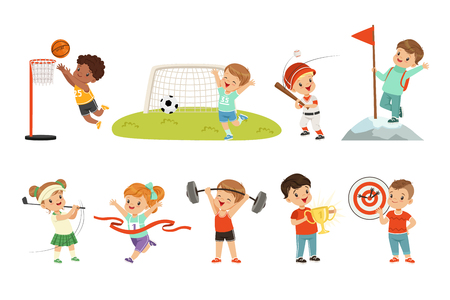 Cute little children playing different sports, footbal, soccer, golf, basketball, baseball, archery, mountaineering sport vector Illustrations on a white background Illustration