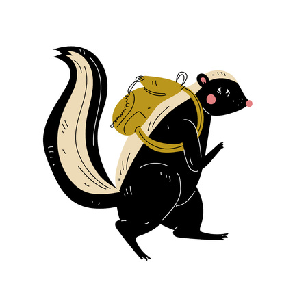 Skunk Walking with Backpack, Animal Character Having Hiking Adventure Travel or Camping Trip Vector Illustration on White Background.