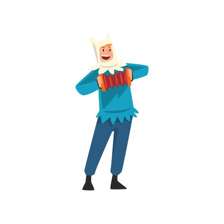 Male Entertainer in Festive Costume Playing Accordion Vector Illustration on White Background.