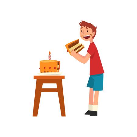 Mignon garçon heureux de manger un gâteau d'anniversaire Vector Illustration sur fond blanc.