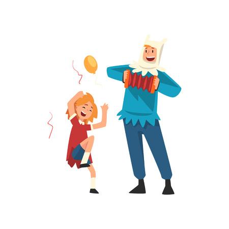 Szczęśliwa dziewczyna zabawy z animatorem na urodziny, artysta w świąteczny kostium gry akordeon wektor ilustracja na białym tle. Ilustracje wektorowe