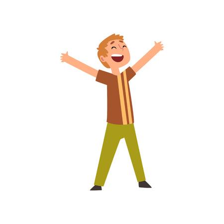Lindo niño feliz, niño feliz divirtiéndose en cumpleaños, fiesta de carnaval ilustración vectorial sobre fondo blanco.