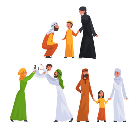 Arab Families in Traditional Clothes Set, Happy Muslim Parents with Their Children Vector Illustration Stock Illustratie