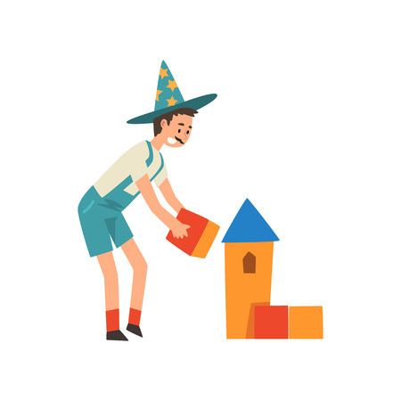 Male Animator in Funny Costume Performing Before Kids Birthday Party With Toy Blocks Vector Illustration on White Background.