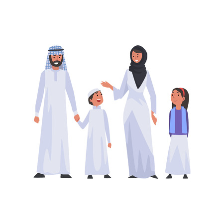 Happy Arab Family in National Clothes, Muslim Parents and Two Children Vector Illustration