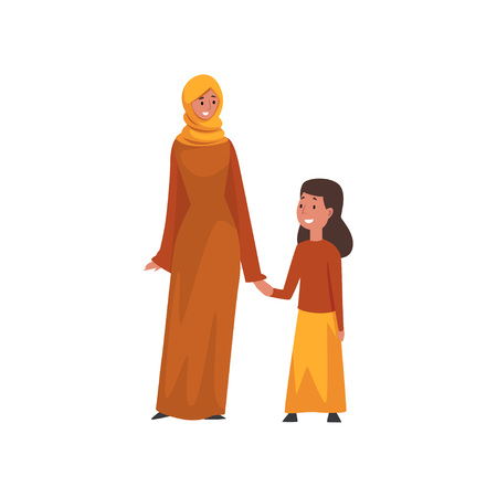 Smiling Mother Holding Hand Her Little Daughter, Muslim Arab Family in Traditional Clothes Vector Illustration
