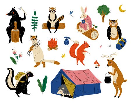 Collection of Animals Characters Having Hiking Adventure Travel or Camping Trip Vector Illustration on White Background.