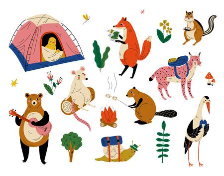 Colección de personajes de animales humanizados que tienen viajes de aventura de senderismo o viajes de campamento ilustración vectorial Ilustración de vector