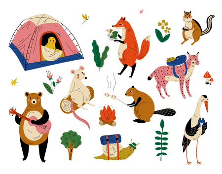 Collection of Humanized Animals Characters Having Hiking Adventure Travel or Camping Trip Vector Illustration