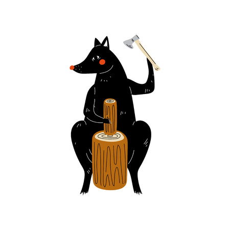 Wolf Chopping Wood with Ax, Animal Character Having Hiking Adventure Travel or Camping Trip Vector Illustration on White Background.