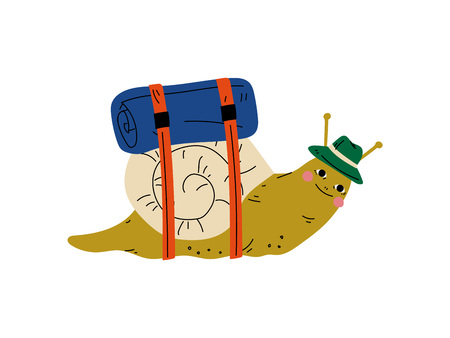 Snail in Hat Travelling, Cute Gastropod Character Having Hiking Adventure Travel or Camping Trip Vector Illustration on White Background.