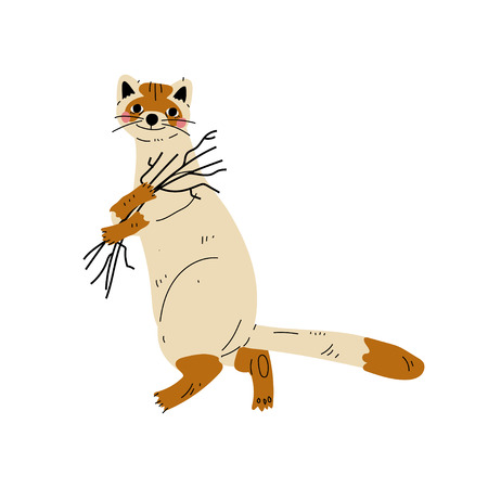 Cat Carrying Bunch of Brushwood, Animal Character Having Hiking Adventure Travel or Camping Trip Vector Illustration on White Background. Illustration