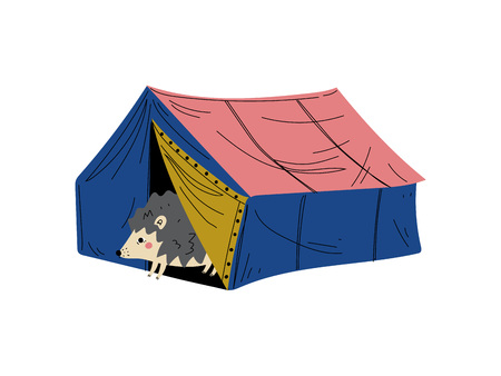 Hedgehog in Tent, Animal Character Having Hiking Adventure Travel or Camping Trip Vector Illustration on White Background.
