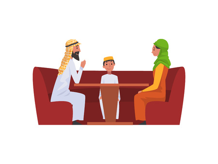Happy Arab Family in National Clothes in Cafe, Muslim Parents with Their Son Sitting at Table Vector Illustration Vektoros illusztráció