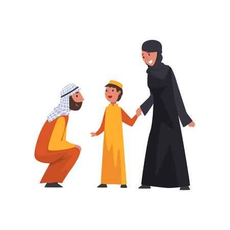 Happy Arab Family in Traditional Clothes, Muslim Parents with Their Son Vector Illustration Stock Illustratie