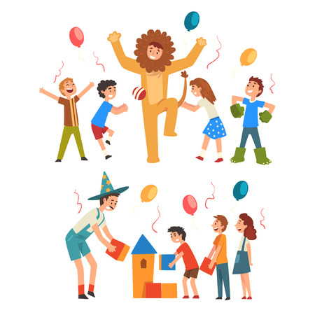 Happy Boys and Girls Having Fun with Animator at Birthday, Entertainers in Funny Festive Costumes Performing and Playing with Children Vector Illustration Stock Vector - 121160888