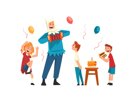 Happy Children Having Fun with Animator at Birthday Party, Entertainer in Festive Costume Performing Before Kids Vector Illustration on White Background.