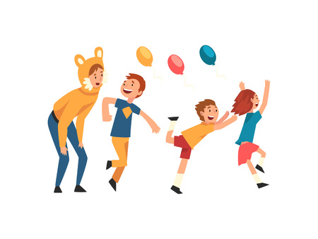 Happy Children Having Fun with Animator at Birthday Party, Entertainer in Festive Funny Costume Performing Before Kids Vector Illustration on White Background.